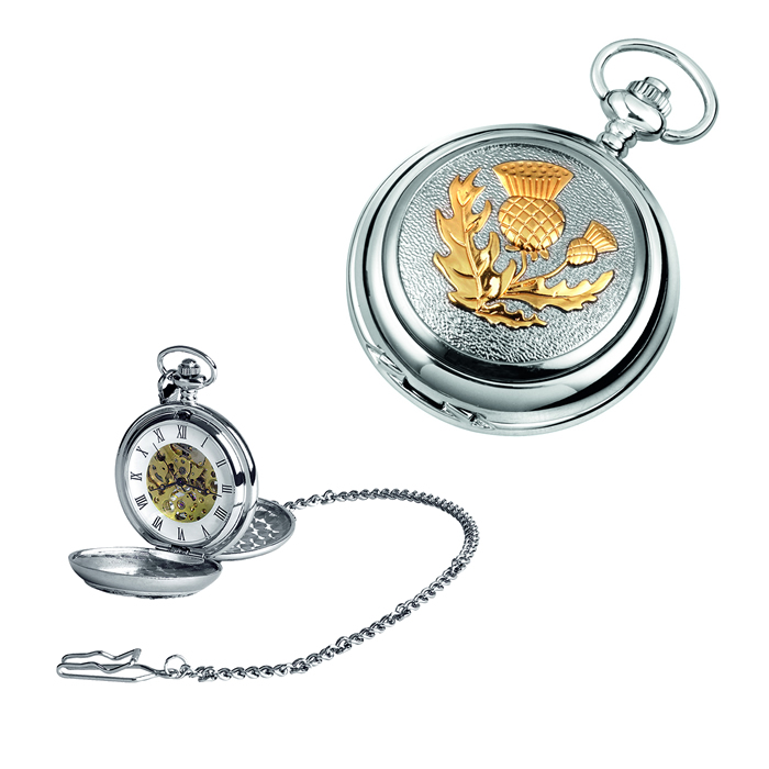 Chrome Gold Look Scottish Thistle Spring Wound Skeleton Pocket Watch With Chain