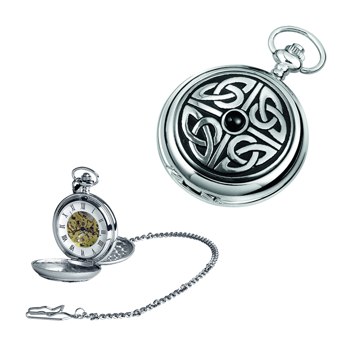 Chrome Celtic Knot Spring Wound Skeleton Pocket Watch And Chain