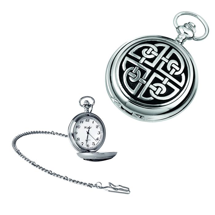 Simple Chrome Celtic Knot Quartz Pocket Watch With Chain
