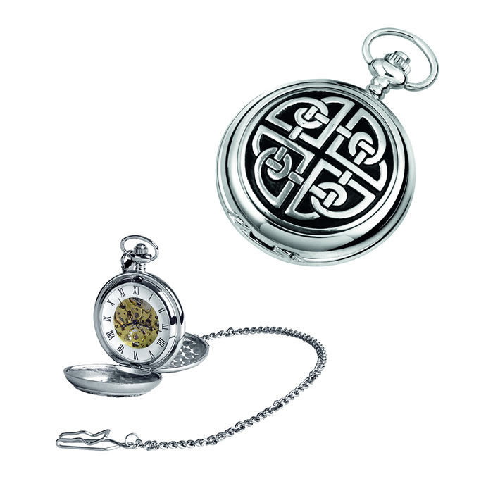 Simple Chrome Celtic Knot Spring Wound Skeleton Pocket Watch With Chain