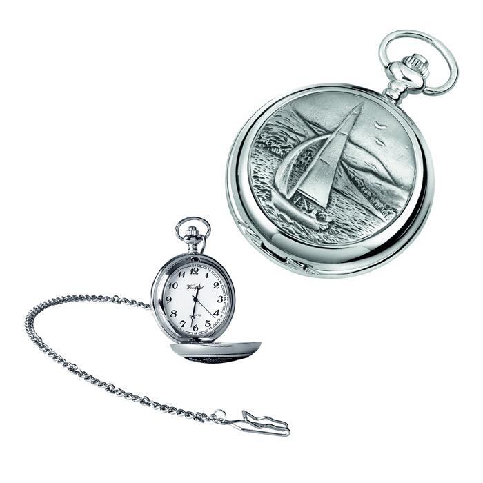 Chrome Yacht Quartz Pocket Watch With Chain