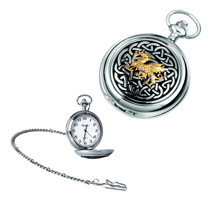 Chrome Welsh Dragon Knot Quartz Pocket Watch With Chain