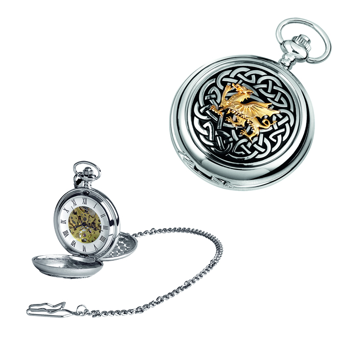 Chrome Welsh Dragon Knot Spring Wound Skeleton Pocket Watch With Chain