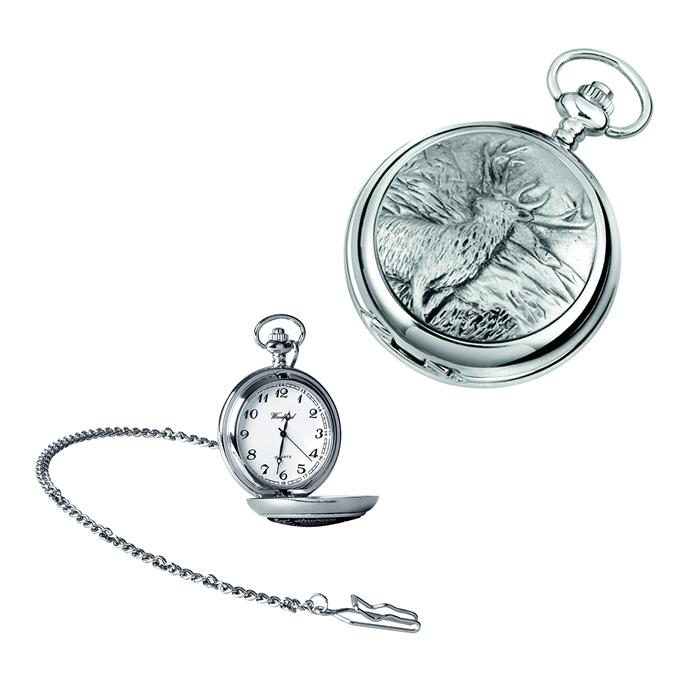 Chrome Stag Quartz Pocket Watch With Chain