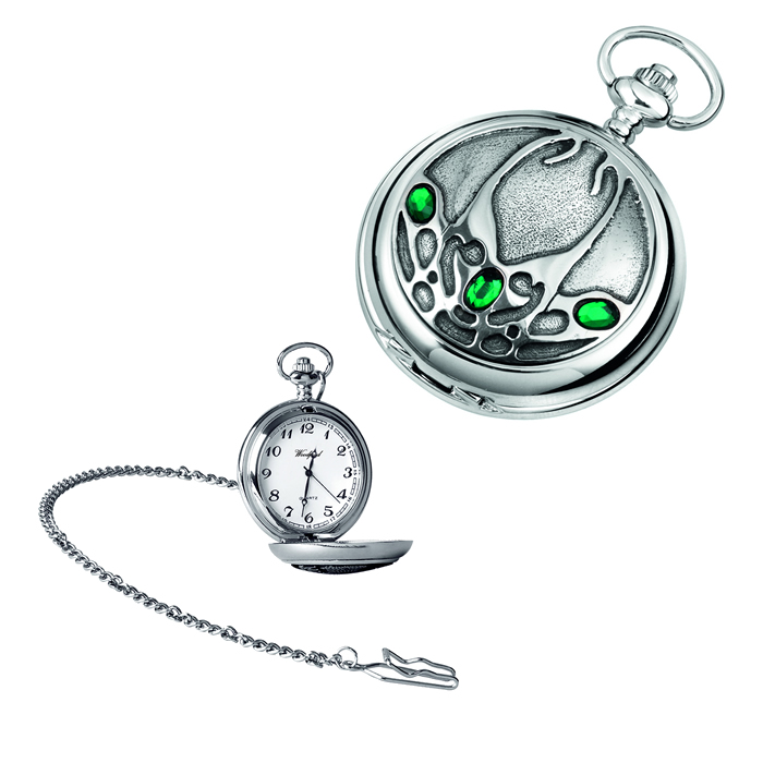 Chrome Archibald Knox Quartz Pocket Watch With Chain