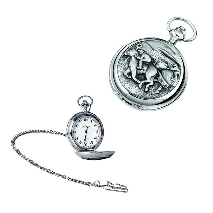 Chrome Horse And Jockey Quartz Pocket Watch With Chain