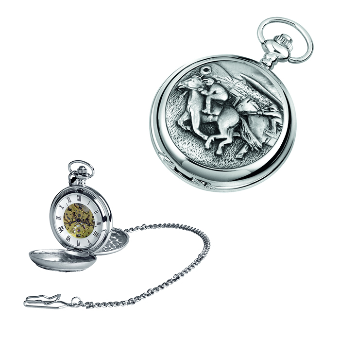 Chrome Horse And Jockey Spring Wound Skeleton Pocket Watch With Chain