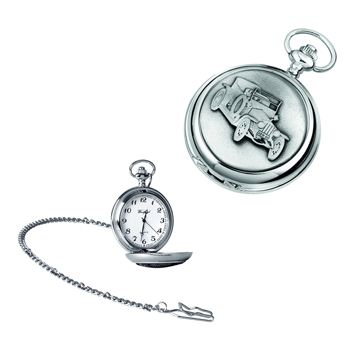 Chrome Vintage Car Quartz Pocket Watch With Chain