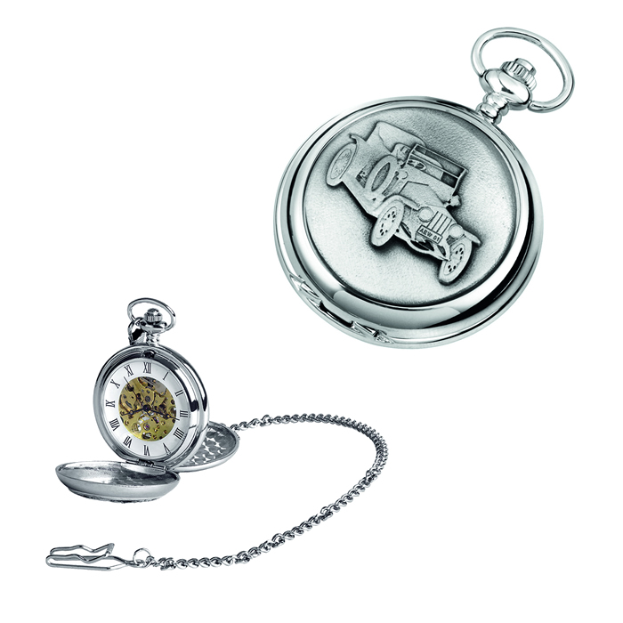 Chrome Vintage Car Spring Wound Skeleton Pocket Watch With Chain