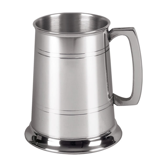 Striped Pewter One Pint Tankard