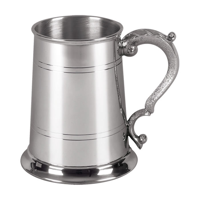 Thin Striped Pewter One Pint Tankard