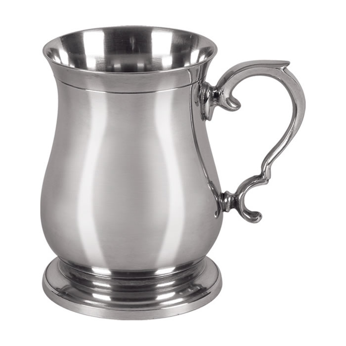 Simple Pewter One Pint Heavy Cast Tankard