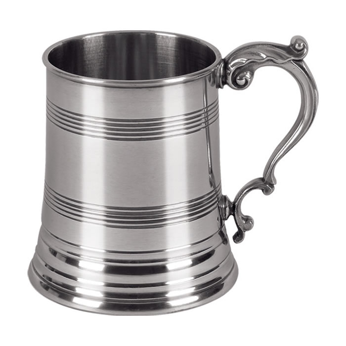 Striped Pewter One Pint Heavy Cast Tankard