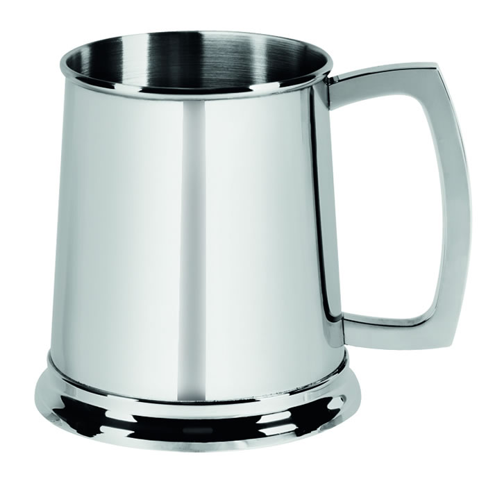 Stainless Steel 1 Pint Glass Bottom Tankard