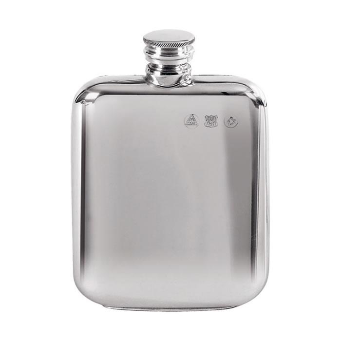 Pewter 11cl Plain Screw Top Flask