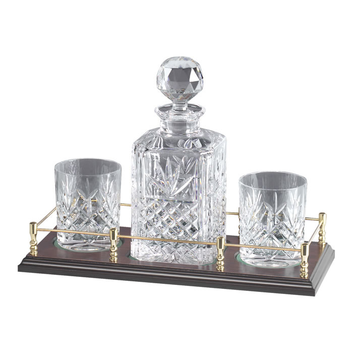 Crystal And Brass Whisky Decanter And 2 Glass Set