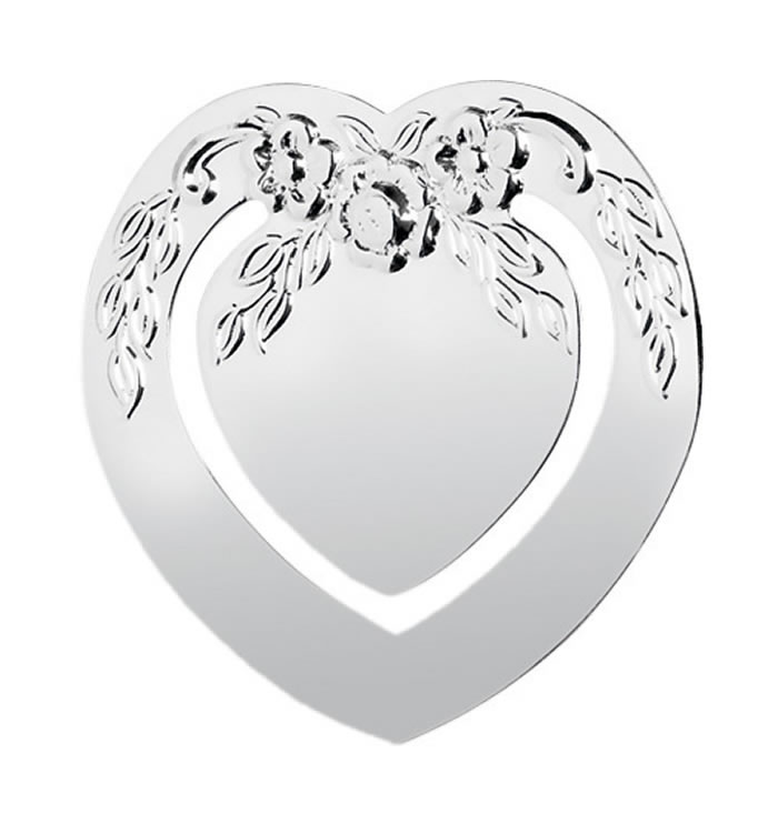 Sterling Silver Heart Detailed Bookmark