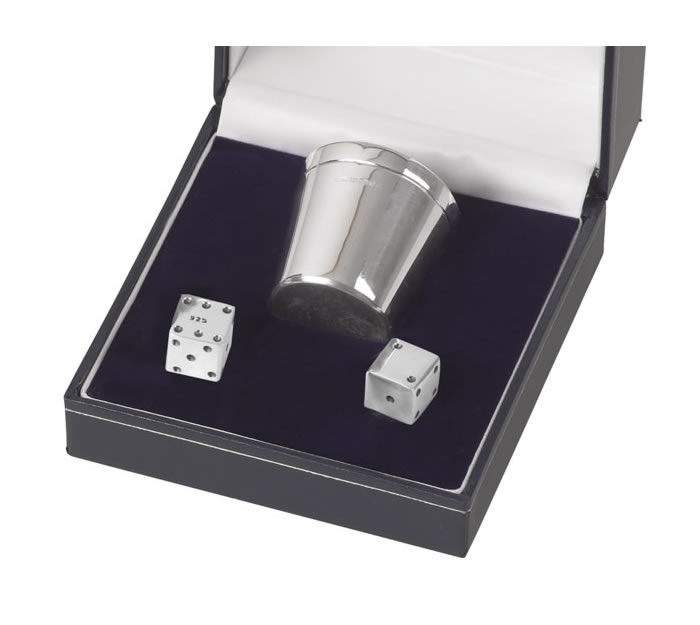 Sterling Silver Set Of Two Dice With Cup