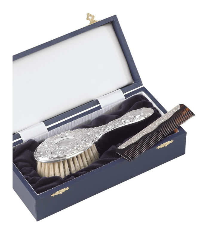 Sterling Silver Baby Brush And Comb Set