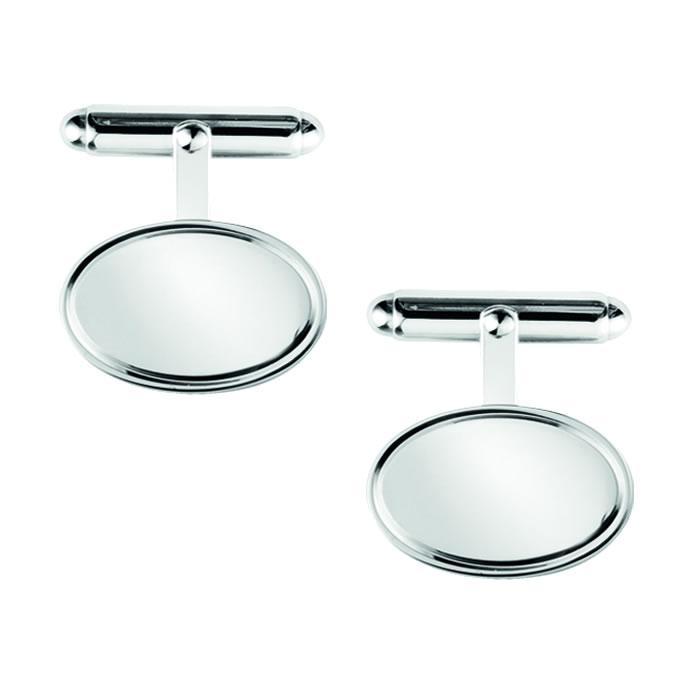 Sterling Silver Plain Oblong Post Cufflinks