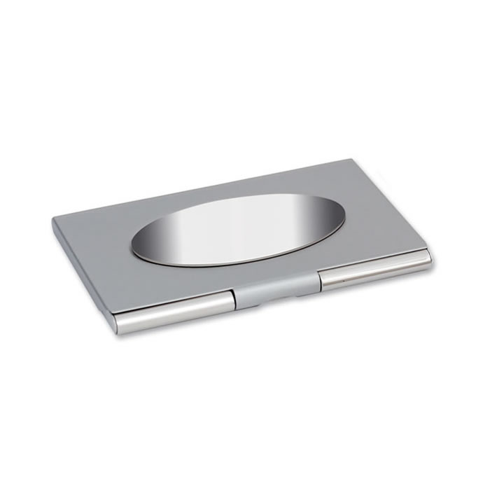 Sheen Nickel Plated With Oval Panel Business Card Holder