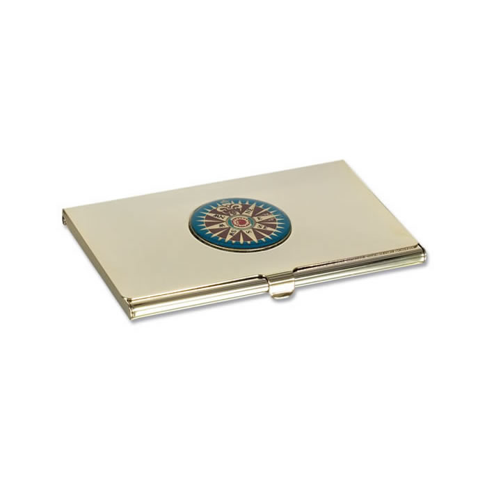 Gold Plated Nautical Motif Business Card Holder