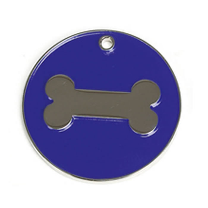 Dark Blue Bone Dog Pet Tag
