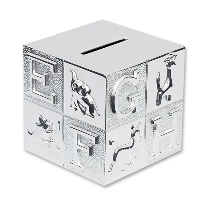 Silver Plated Childrens Abc Money Box