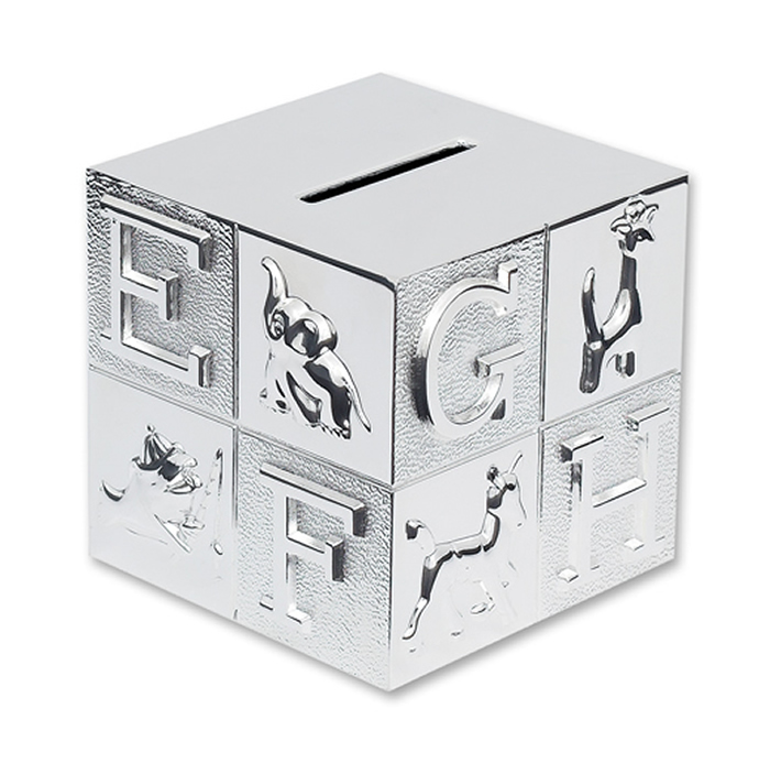 Silver Plated Children's Abc Money Box