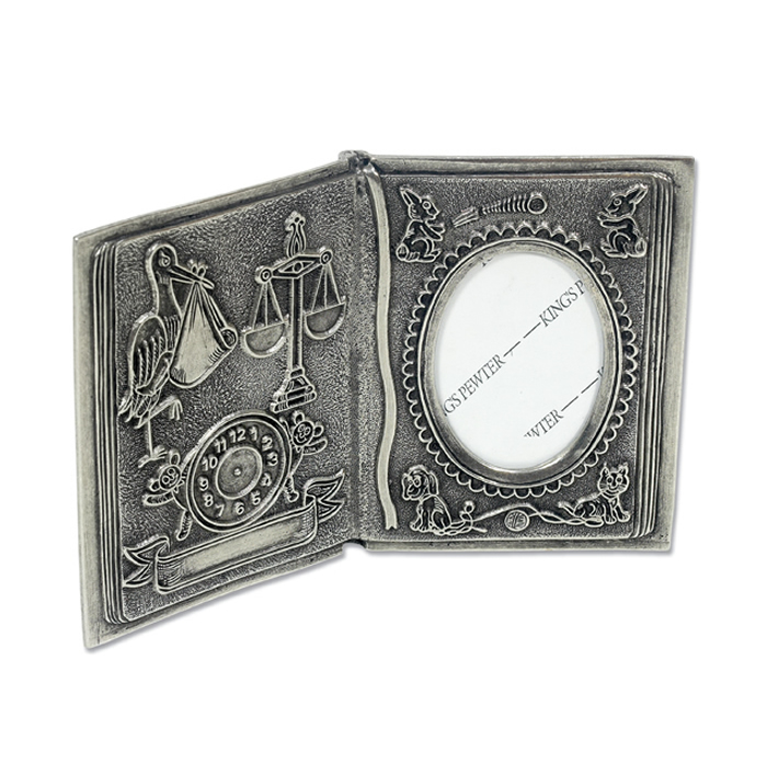 Pewter Open Book Photo Frame