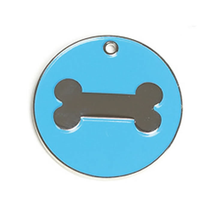 Light Blue Bone Dog Pet Tag