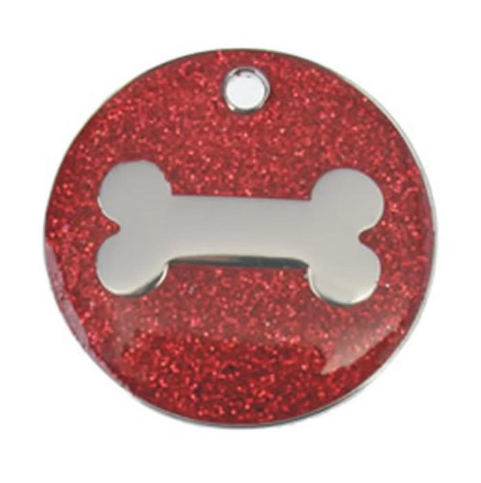 Red Bone Glitter Dog Pet Tag