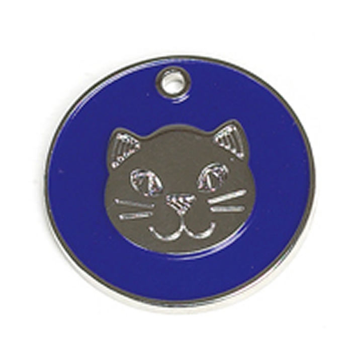 Dark Blue Cat Pet Tag