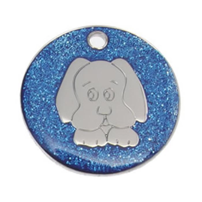 Dark Blue Dog Glitter Dog Pet Tag