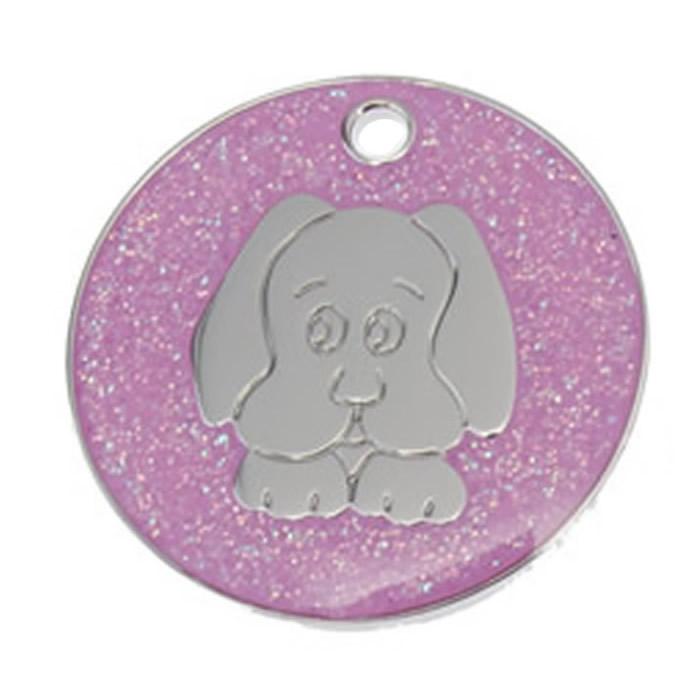 Pink Dog Glitter Dog Pet Tag
