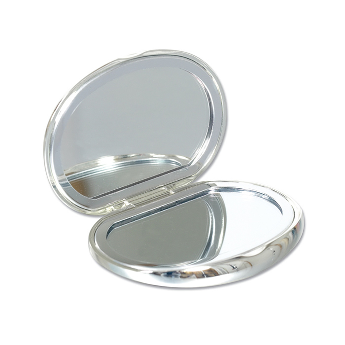 Silver Plated Oval Compact Mirror