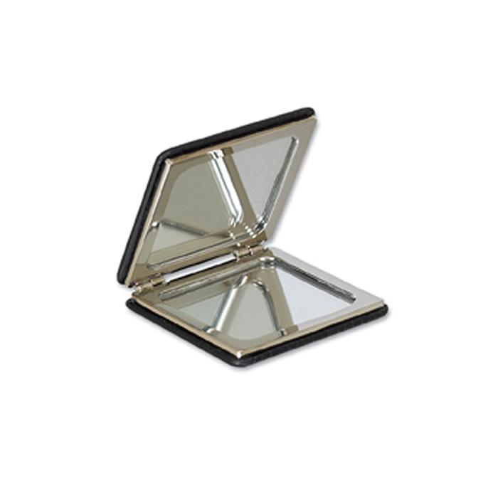 Black Leather Square Compact Mirror