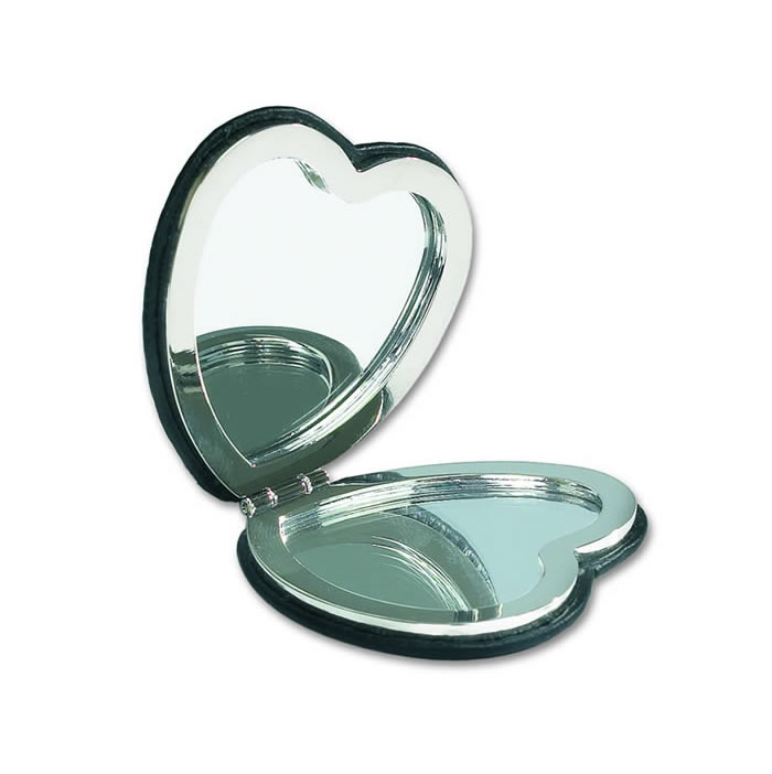 Black Leather Heart Shaped Compact Mirror