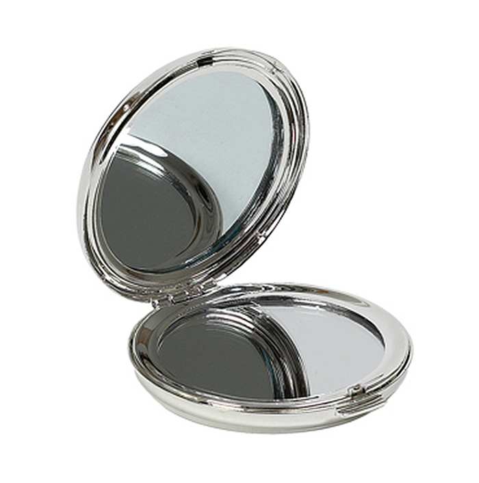 Round Silver Plated Compact Mirror