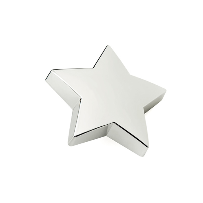 Flat Design Silver Plated Star Paperweight
