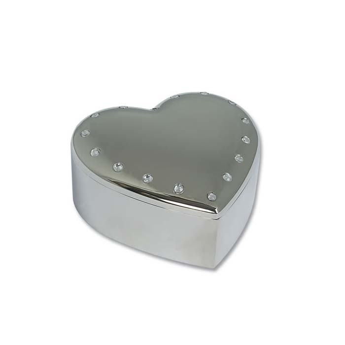 Silver Plated Gemmed Heart Trinket Box