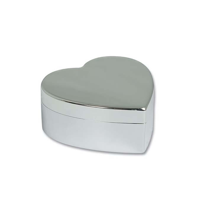 Silver Plated Simple Heart Trinket Box