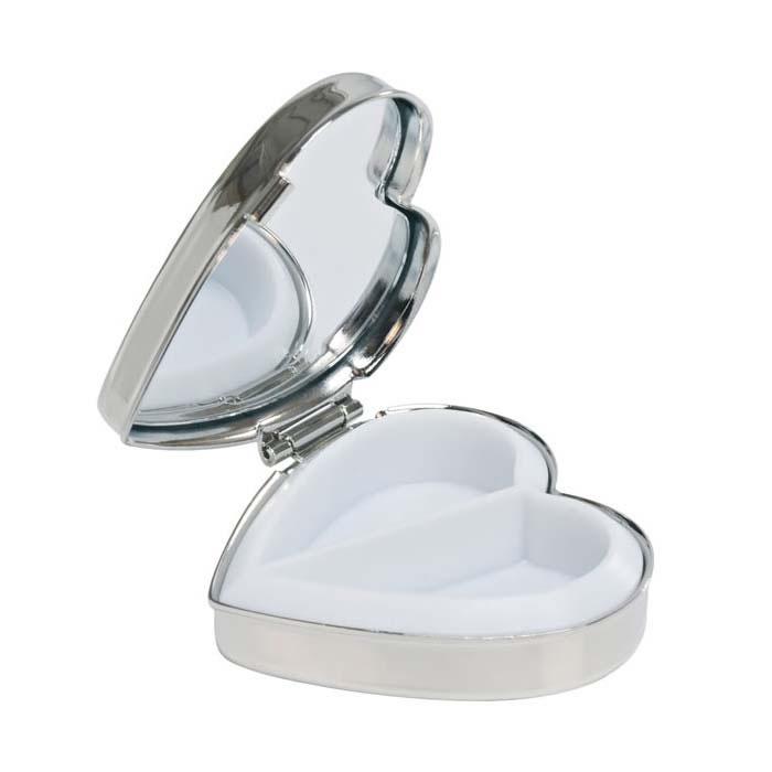 Nickel Plated Heart Pill Box