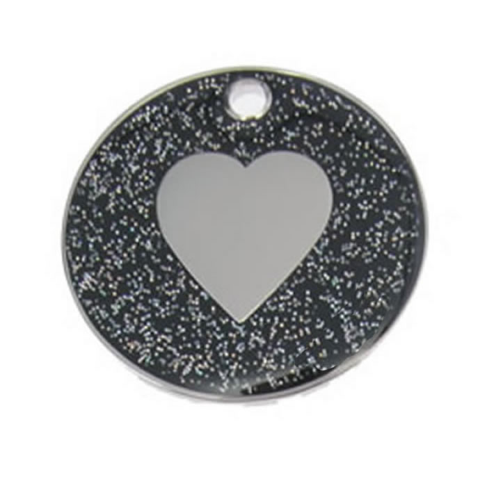 Black Heart Glitter Dog Pet Tag