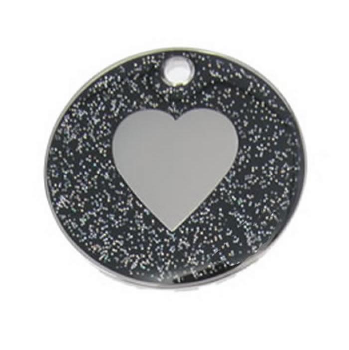 Black Heart Glitter Dog Pet Tag