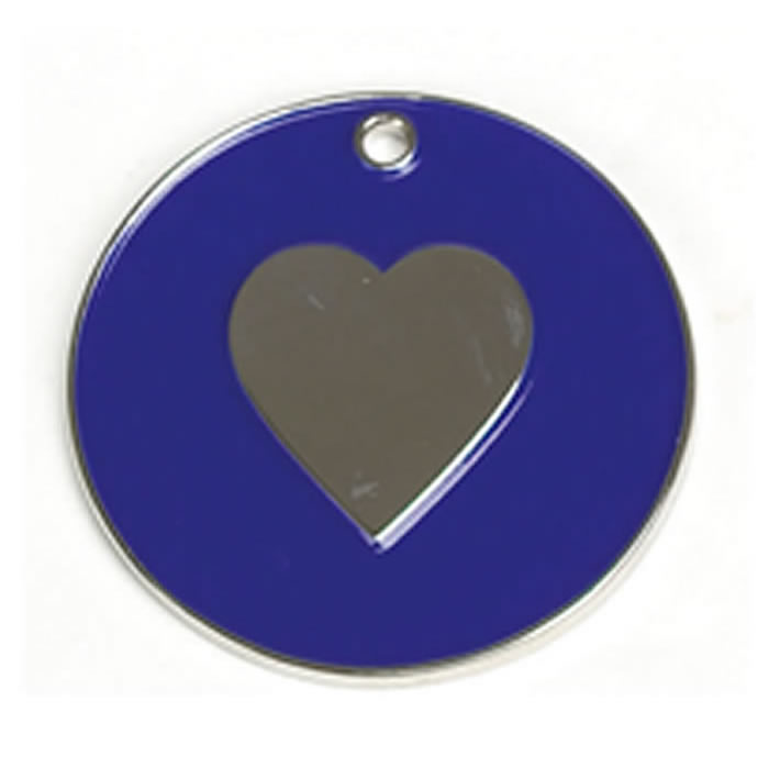 Dark Blue Heart Dog Pet Tag