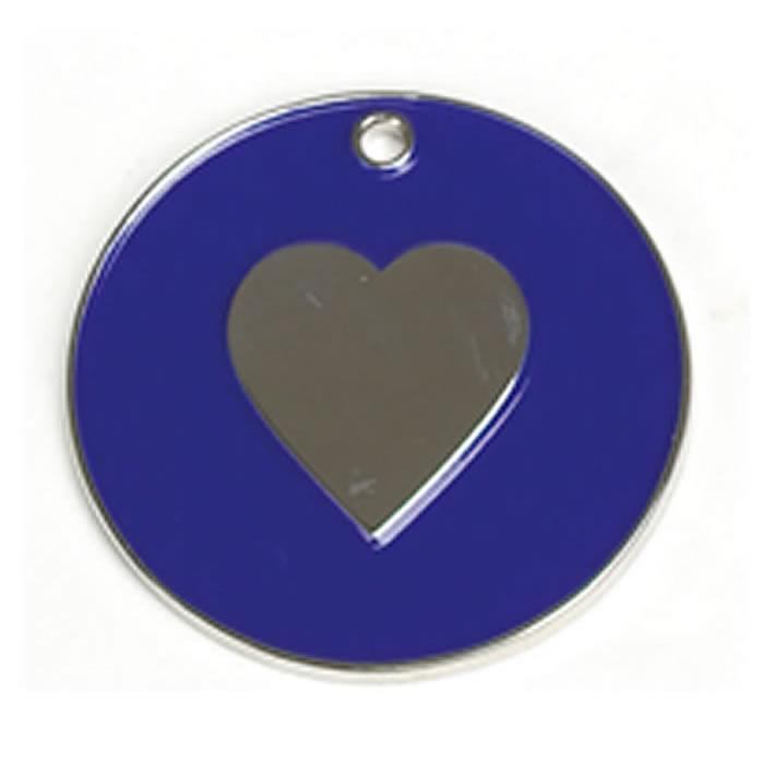 Dark Blue Heart Dog Pet Tag