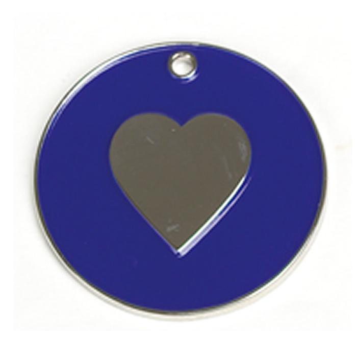 Dark Blue Heart Cat Pet Tag