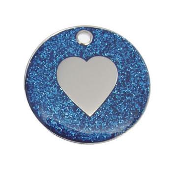 Dark Blue Heart Glitter Dog Pet Tag