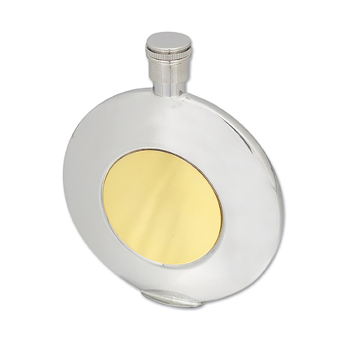 Stainless Steel Round With Gold Engraving Plate Flask 11cl